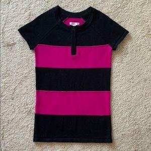 Colorblock Bodycon Cap Sleeve Fuschia Punk Stripes